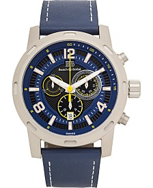 Buech & Boilat Baracchi Men's Chronograph Watch Blue Leather Strap, White Stiching, Blue/Black Dial, Silver Case, 46mm