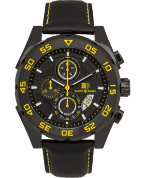 Torrent Men's Chronograph Watch Black Leather Strap