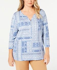 Karen Scott Plus Size Split-Neck Printed Top, Created for Macy's