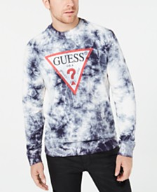 GUESS Men's Tie-Dye Logo Graphic Fleece Sweatshirt