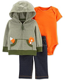 Baby Boys 3-Pc. Hoodie, Bodysuit & Denim Pants Cotton Set