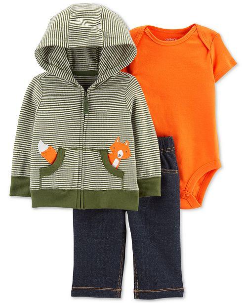 Carter's Baby Boys 3-Pc. Hoodie, Bodysuit & Denim Pants Cotton Set