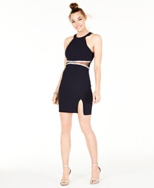 Sequin Hearts Juniors' Embellished Illusion-Mesh Bodycon Dress