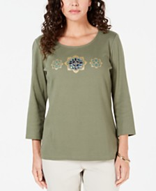 Karen Scott Petite Rhinestone-Embellished Cotton Top, Created for Macy's