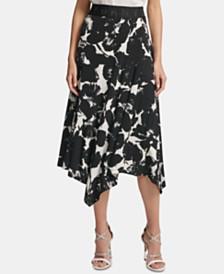 DKNY Asymmetrical Floral Print Skirt