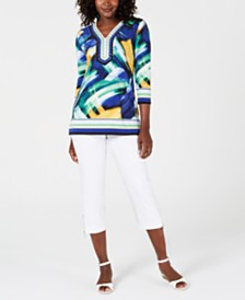 JM Collection Printed Tunic & Zip-Hem Capris, Created for Macy's