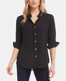 Karen Kane Shirred-Sleeve Shirt