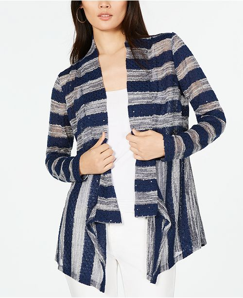 INC International Concepts I.N.C. Sequined Striped Cardigan, Created for Macy's