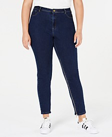 Trendy Plus Size Power-Zip Skinny Jeans