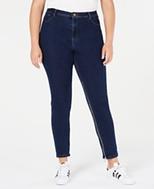 Lala Anthony Trendy Plus Size Power-Zip Skinny Jeans