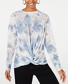 Juniors' Tie-Dye Twist-Front Top