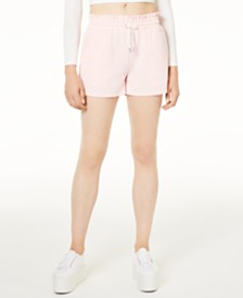 Waisted Paperbag-Waist Track Shorts