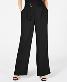 Rewash Juniors' Belted Wide-Leg Pants