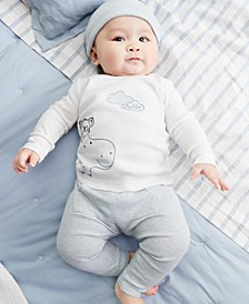 Baby Boys 4-Pc. Hippo Graphic Cotton Top, Pants, Hat & Socks Set