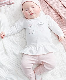 Baby Girls 4-Pc. Cotton Top, Pants, Socks & Hat Set