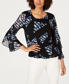 Alfani Triangle-Print Ruffled-Sleeve Top, Created For Macy's