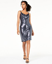 Juniors' Metallic Cowl-Neck Dress