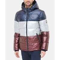 Tommy Hilfiger Mens Pearlized Performance Hooded Puffer Coat Deals