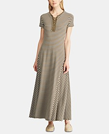 Petite Stripe-Print Lace-Up Maxi Dress
