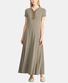 Lauren Ralph Lauren Petite Stripe-Print Lace-Up Maxi Dress