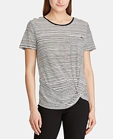 Petite Stripe-Print Twist-Hem Pocket T-Shirt