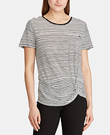 Lauren Ralph Lauren Petite Stripe-Print Twist-Hem Pocket T-Shirt