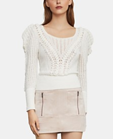 BCBGMAXAZRIA Draped-Shoulder Sweater