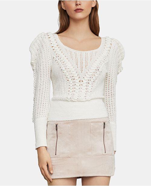 BCBGMAXAZRIA Draped-Shoulder Sweater