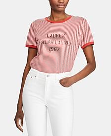 Petite Stripe-Print Logo T-Shirt