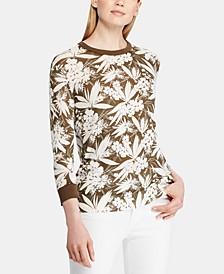 Petite Botanical-Print Sweater