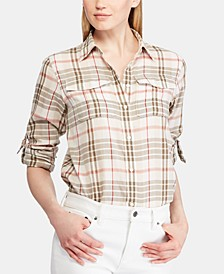 Petite Plaid-Print Button-Up Cotton Shirt