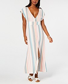 Juniors' Striped Button-Down Maxi Dress