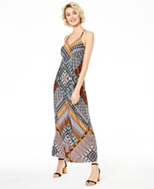I.N.C. Printed Ring-Back Maxi Dress, Created for Macy's