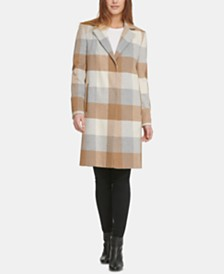 DKNY Single-Breasted Plaid Coat, Created for Macy's