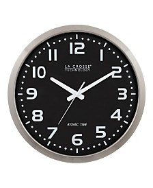 "La Crosse Technology 16"" Stainless Steel Atomic Clock with Black dial"