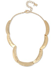 "Gold-Tone Curved Bar Sculptural Collar Necklace, 17"" + 3"" extender"