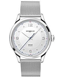 Men's Swiss Automatic Heritage Stainless Steel Mesh Bracelet Watch 40mm