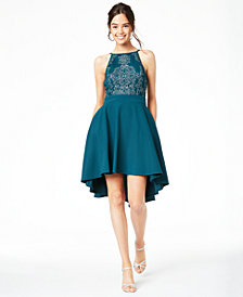 Speechless Juniors' Beaded High-Low Fit & Flare Dress, Created for Macy's