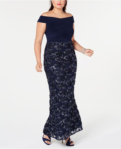 Adrianna Papell Plus Size Soutache Off-The-Shoulder Gown