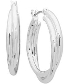 Anne Klein Silver-Tone Twist Small Hoop Earrings