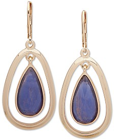 Anne Klein Gold-Tone & Stone Orbital Drop Earrings