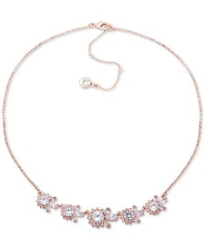 "Anne Klein Rose Gold-Tone Crystal Collar Necklace, 16"" + 3"" extender"