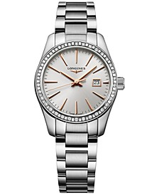 Women's Swiss Conquest Classic Diamond (5/8 ct. t.w.) Stainless Steel Bracelet Watch 29mm