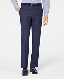 Michael Kors Men's Classic/Regular Fit Airsoft Stretch Blue Flannel Suit Pants