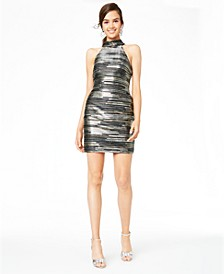 Juniors' Metallic-Stripe Dress
