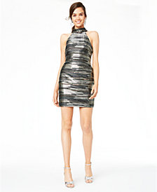 Teeze Me Juniors' Metallic-Stripe Dress