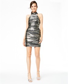 Teeze Me Juniors' Metallic-Stripe Dress