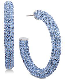 Jenny Packham Pavé Large Open Medium Hoop Earrings
