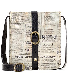 Patricia Nash Venezia Newspaper Print Leather Crossbody