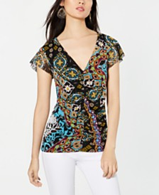 I.N.C. Ruched Mesh Top, Created for Macy's